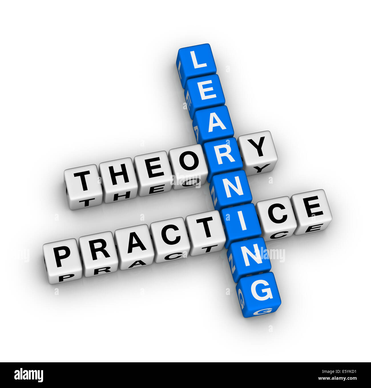 learning - theory and practice crossword puzzle - Stock Image