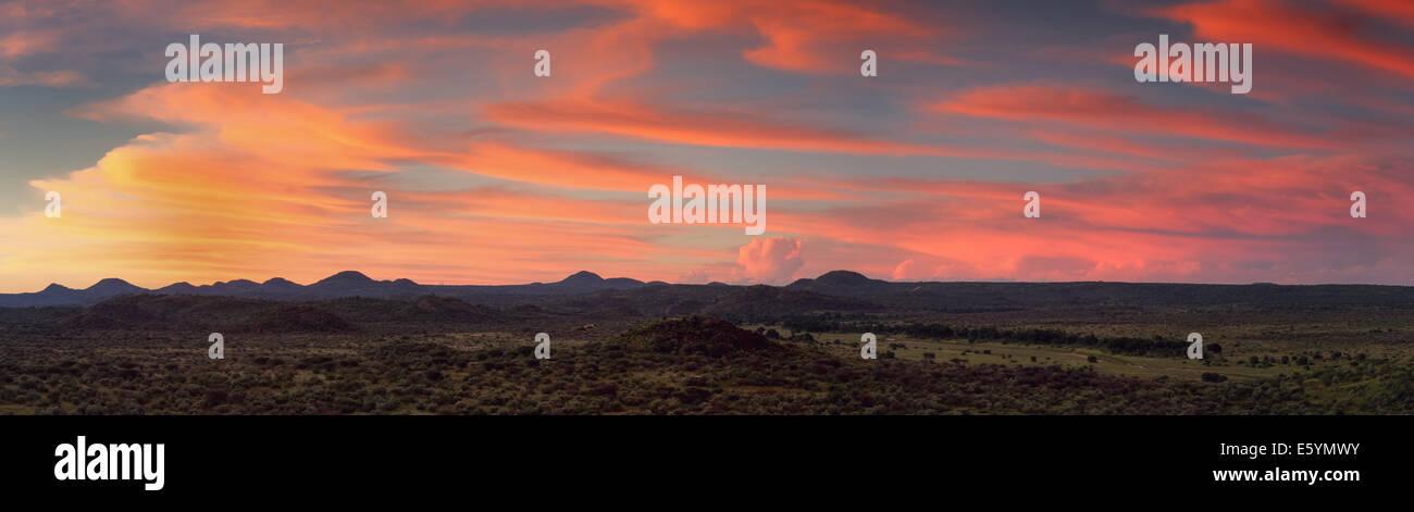 Panorama of the namibian savannah at sunset near Windhoek - Stock Image