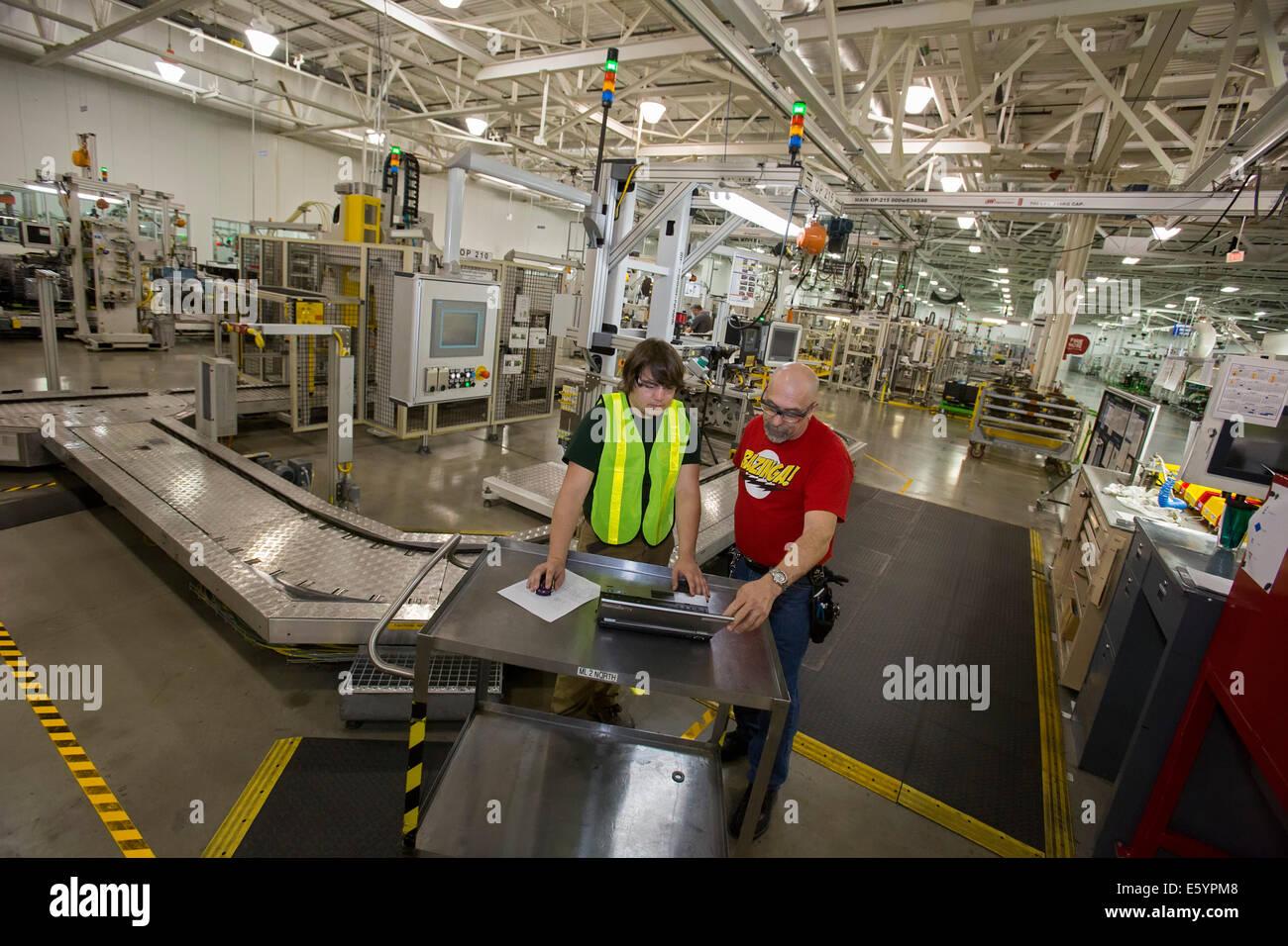 Toledo, Ohio - Student intern at General Motors factory. - Stock Image