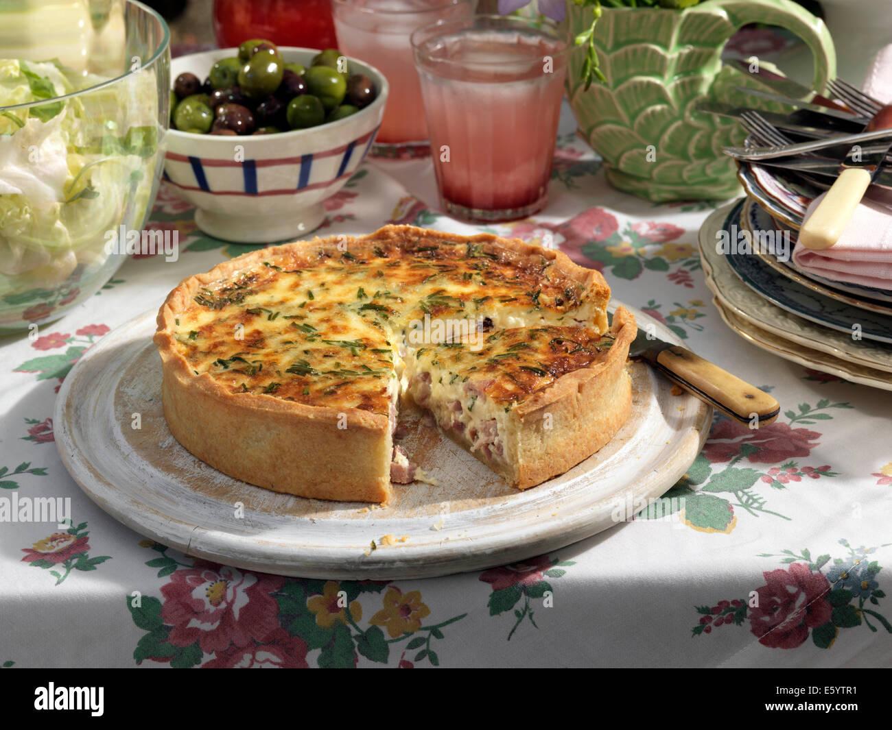 Quiche ham cheese chive tart - Stock Image