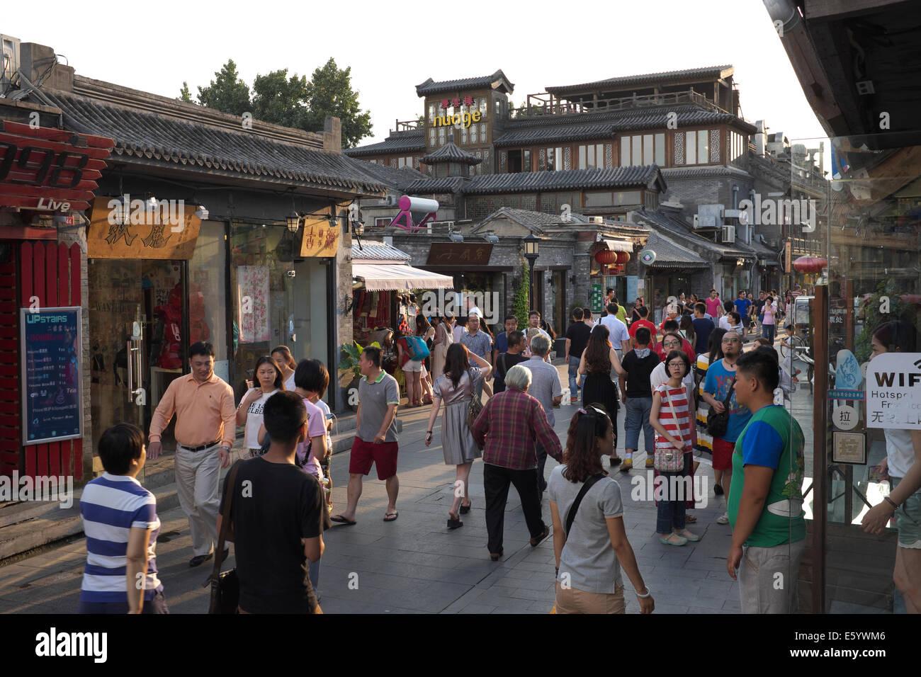 Tourists visit Yandai Xiejie in Houhai,  Beijing, China. 21-Jun-2014 - Stock Image