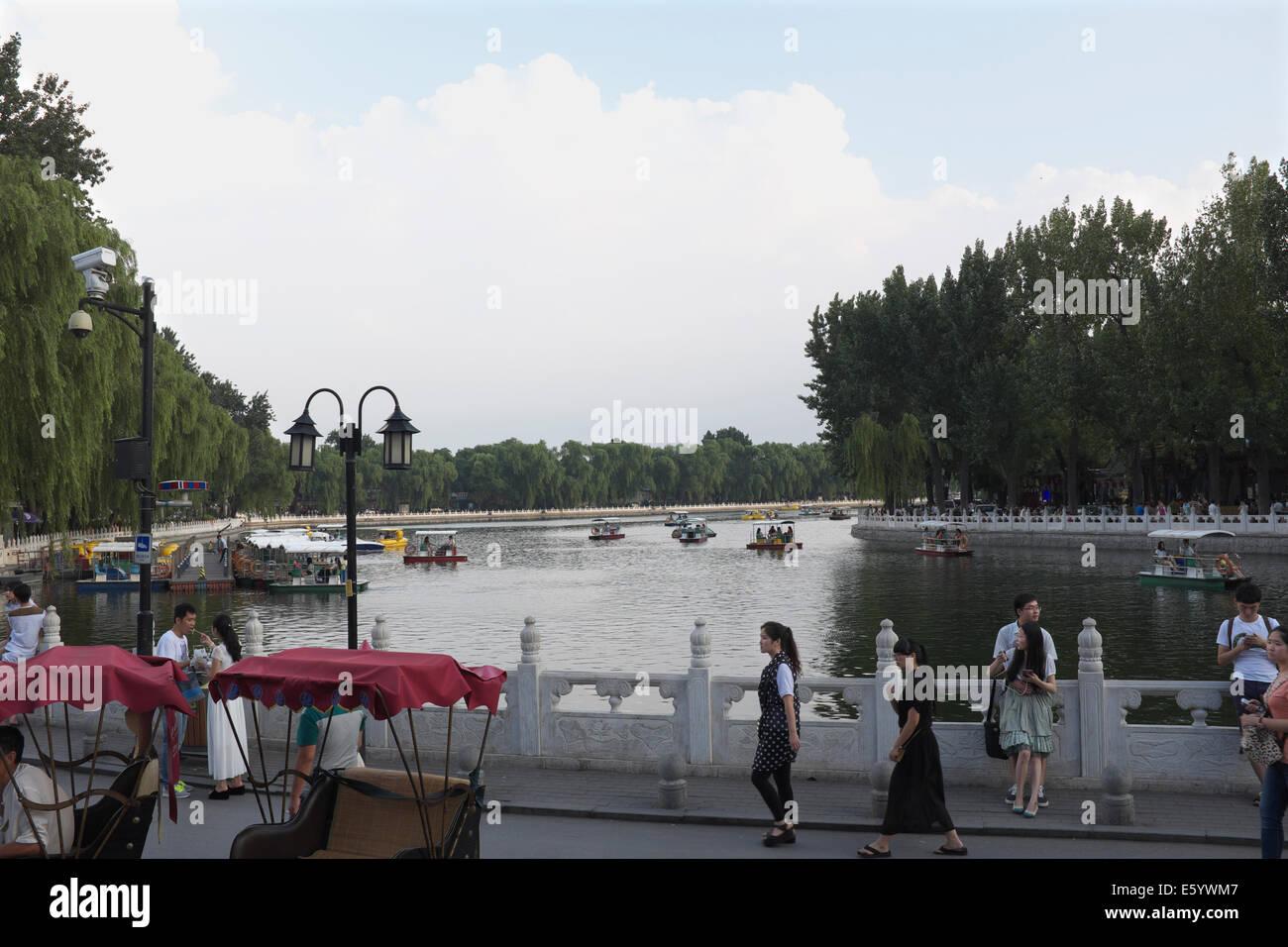 Tourists visit Houhai,  Beijing, China. 21-Jun-2014 - Stock Image