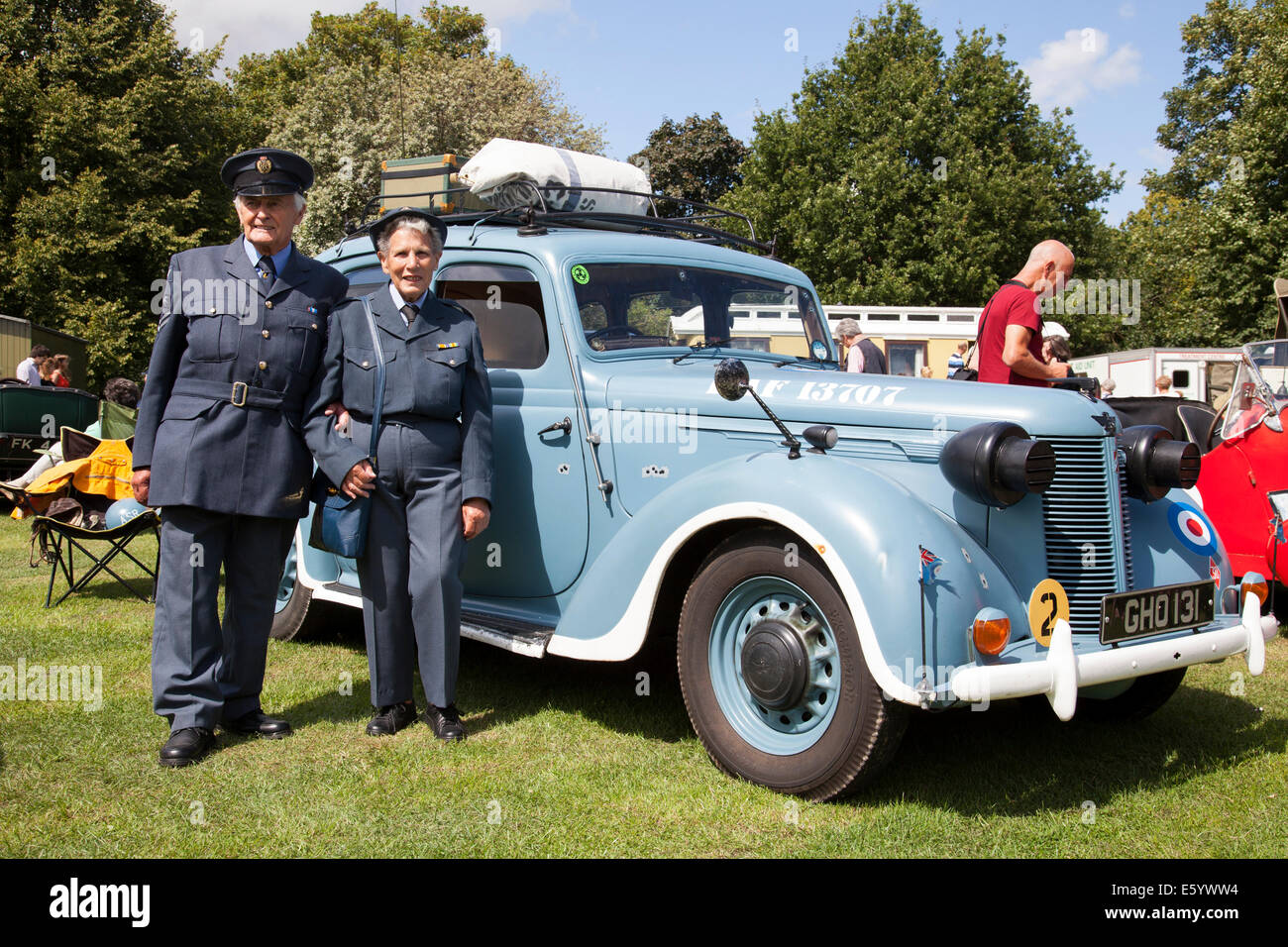 Retford, Nottinghamshire, UK. 9th August, 2014. Participants of the first Retford War Weekend dressed in World War - Stock Image