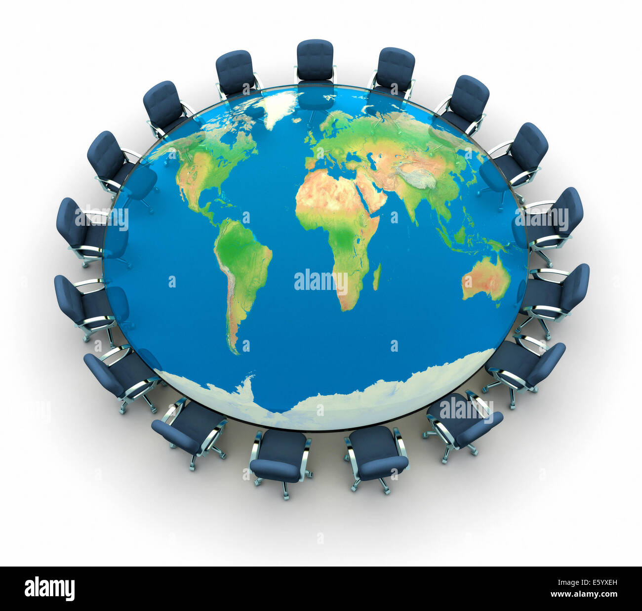 Round meeting table world map stock photos round meeting table round table conference with the world map 3d render the map used comes from gumiabroncs Image collections