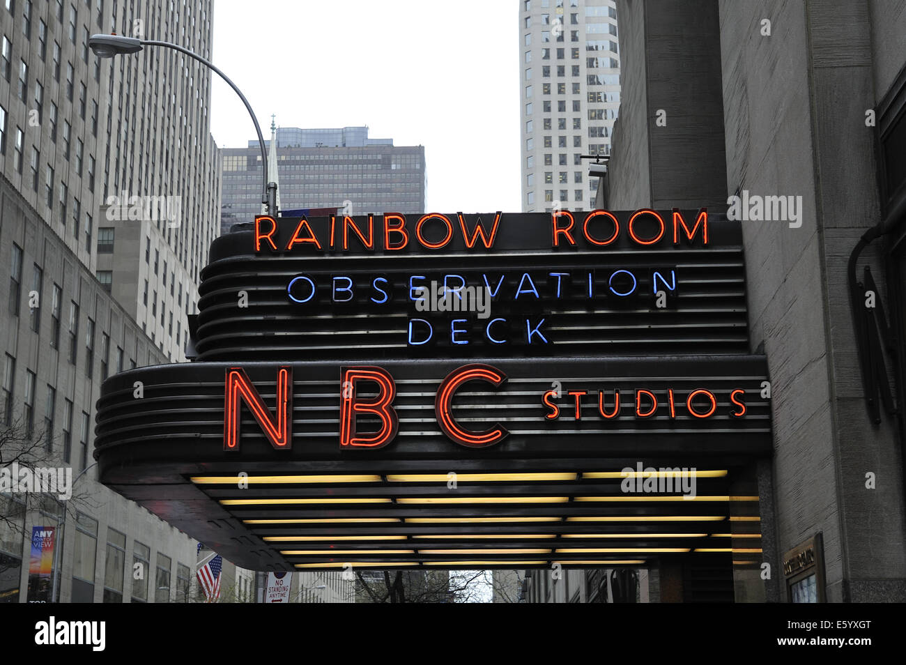 Neon signs for the Observation Deck, The Rainbow Room restaurant, and NBC Studios. Rockefeller Center, Manhattan, - Stock Image