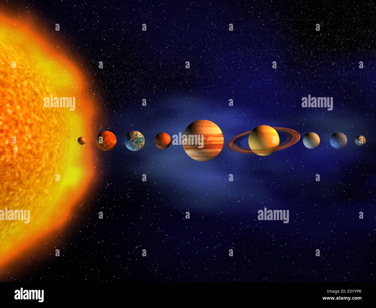 Diagram Of Planets In Solar System - 3d Render Stock Photo