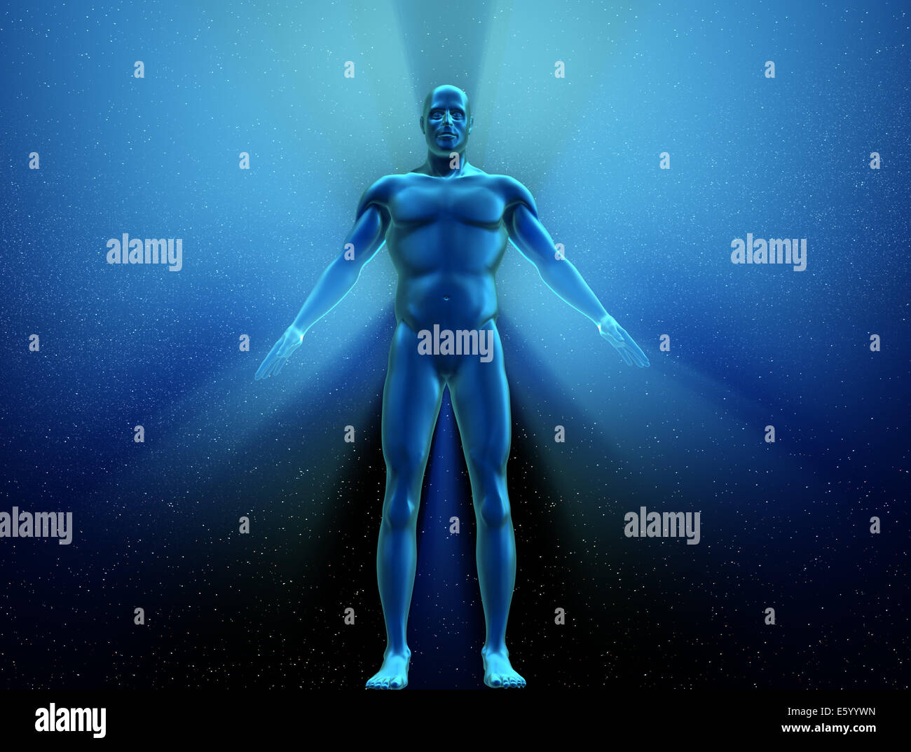 Human body with metallic appearance - 3d render - Stock Image