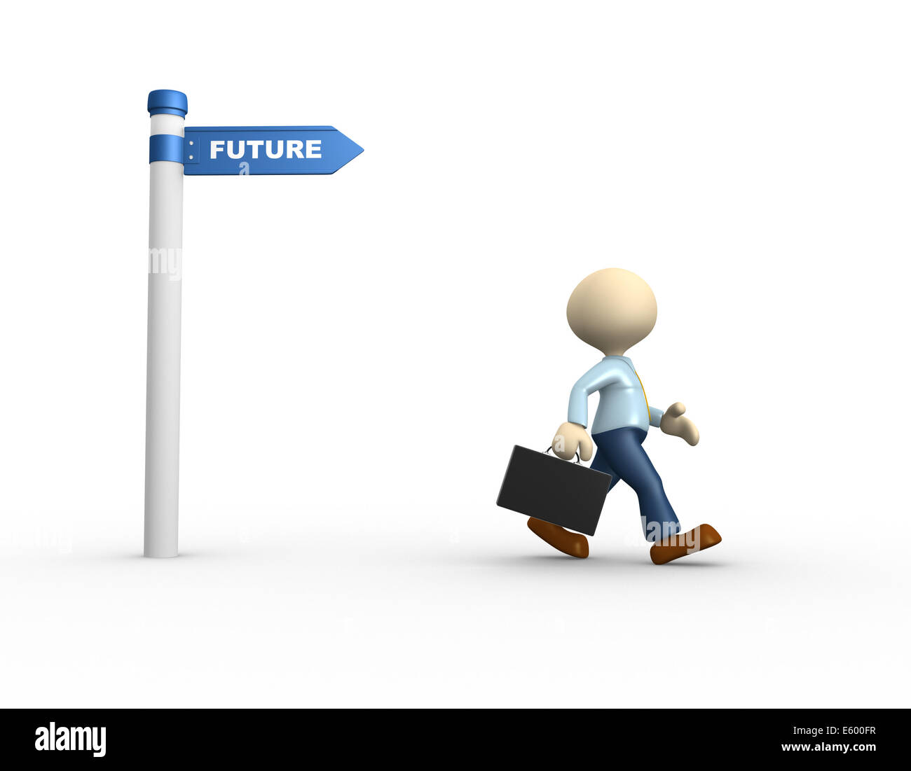 3d people - man, person with a road sign. 'Future' concept - Stock Image