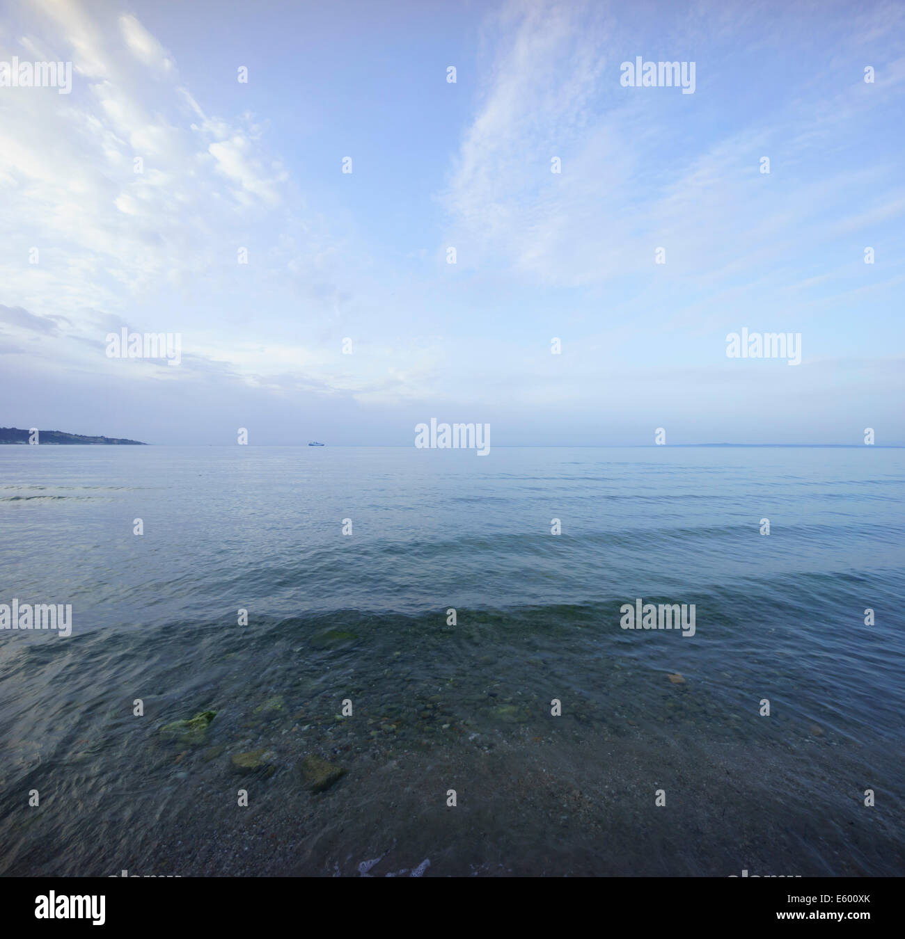 Zante, Greece - Argassi. Calm sea looking towards the Greek mainland. - Stock Image