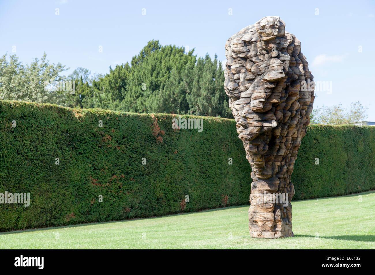 Sculpture titled  forScratch by Ursula von Rydingsvard  at Yorkshire Sculpture Park - Stock Image