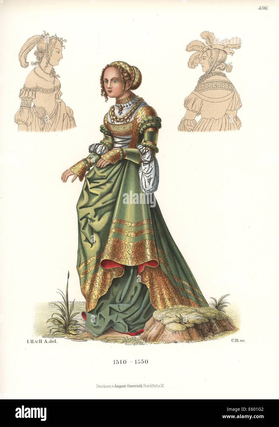 Costume of a German woman, first half of the 16th century. - Stock Image
