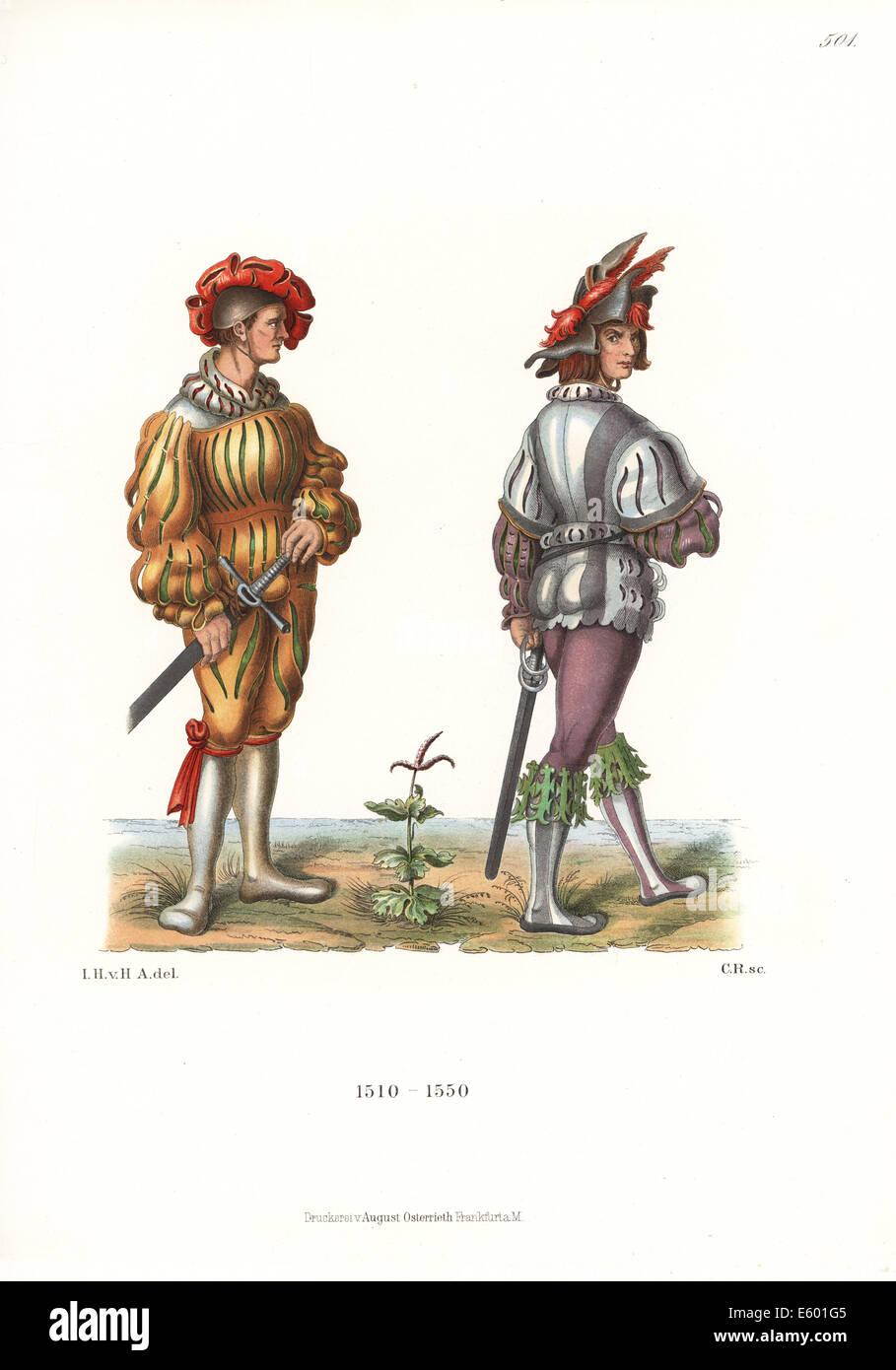 Costumes of Landsknechte or German mercenaries, 16th century. - Stock Image