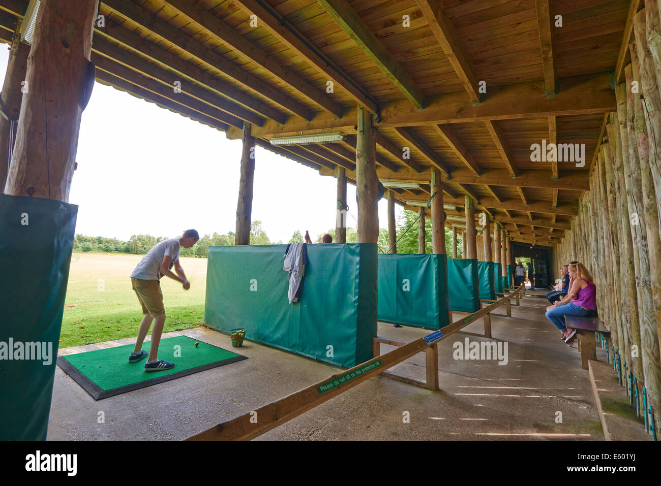 Inside A Golf Driving Range Center Parcs Sherwood Forest UK - Stock Image
