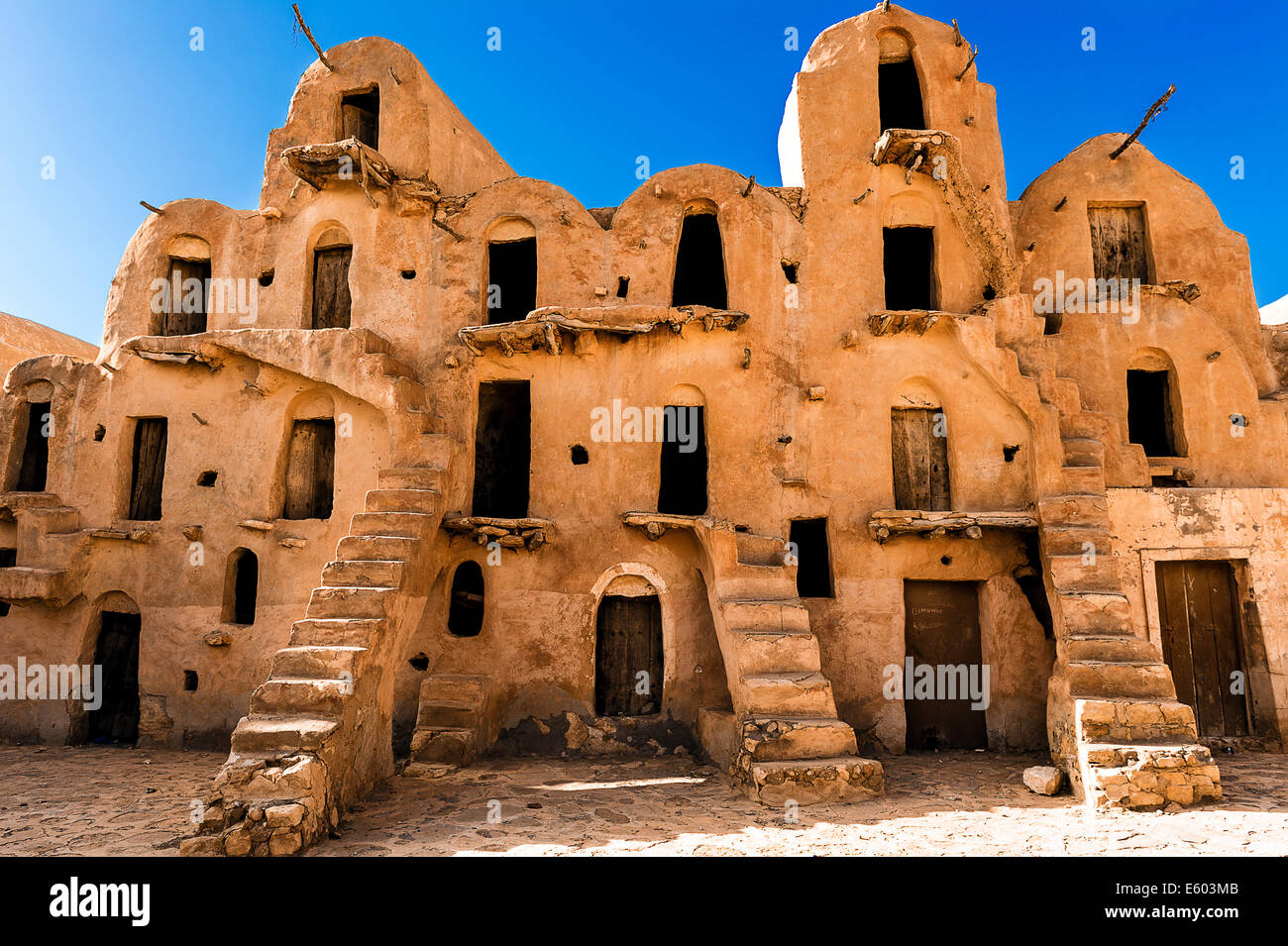 Africa, North Africa, Maghreb, South Tunisia. Governorat of Tataouine. Ksar Ouled Soltane. Stock Photo