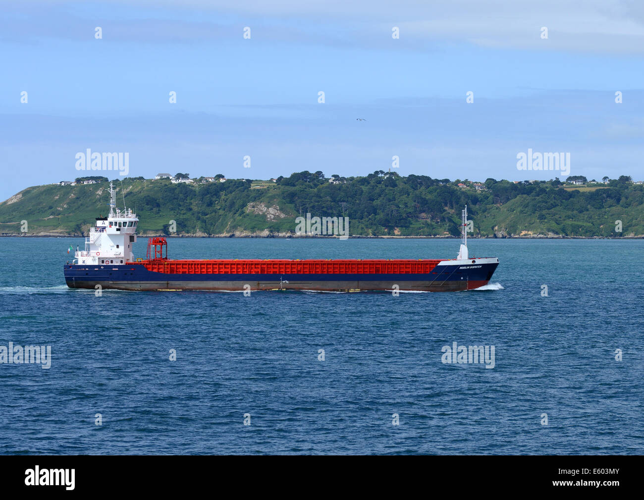 Huelin Dispatch,  general cargo ship approaching Guernsey - Stock Image