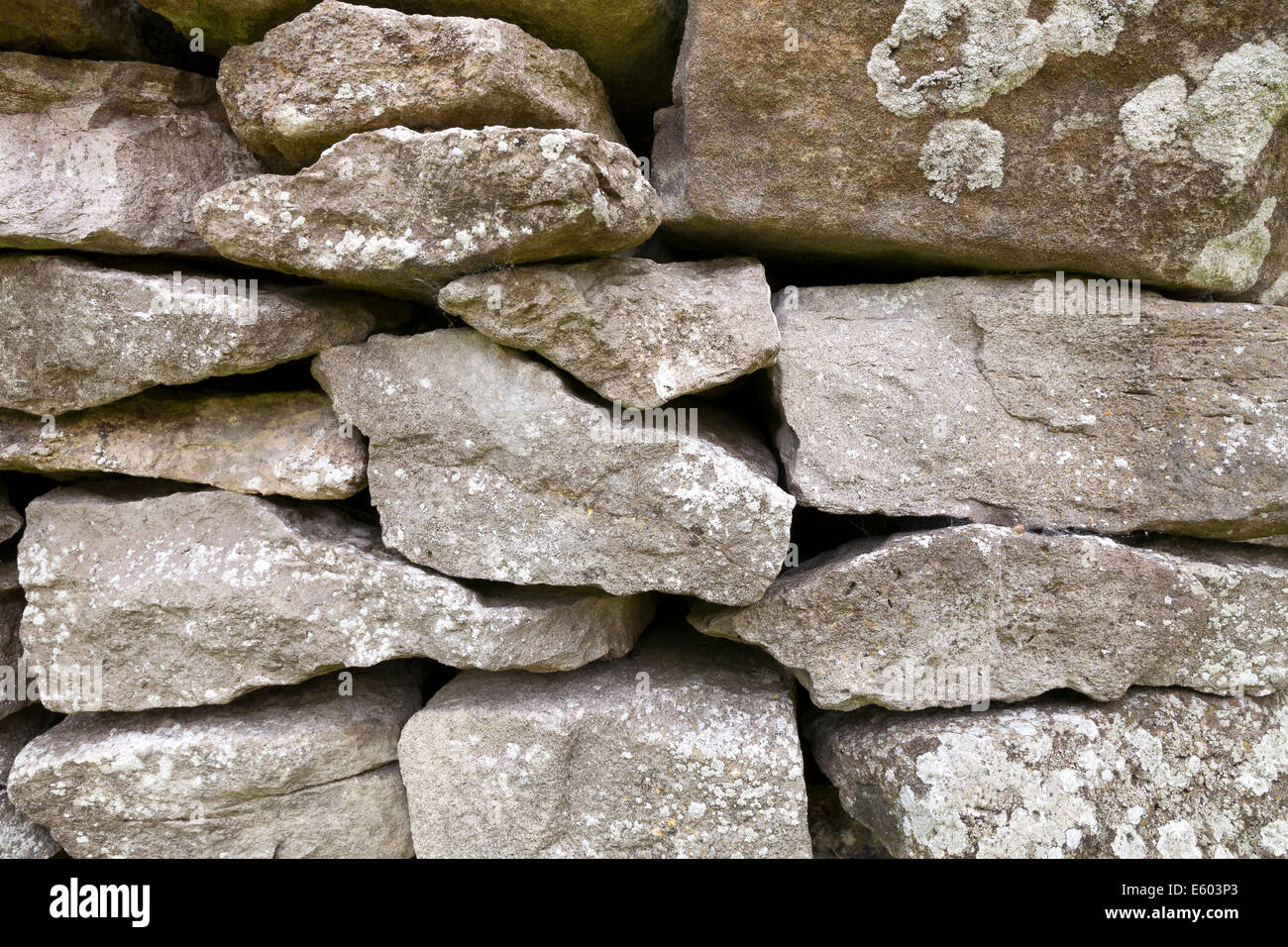 Close up of dry stone wall made from limestone, Cumbria, England - Stock Image