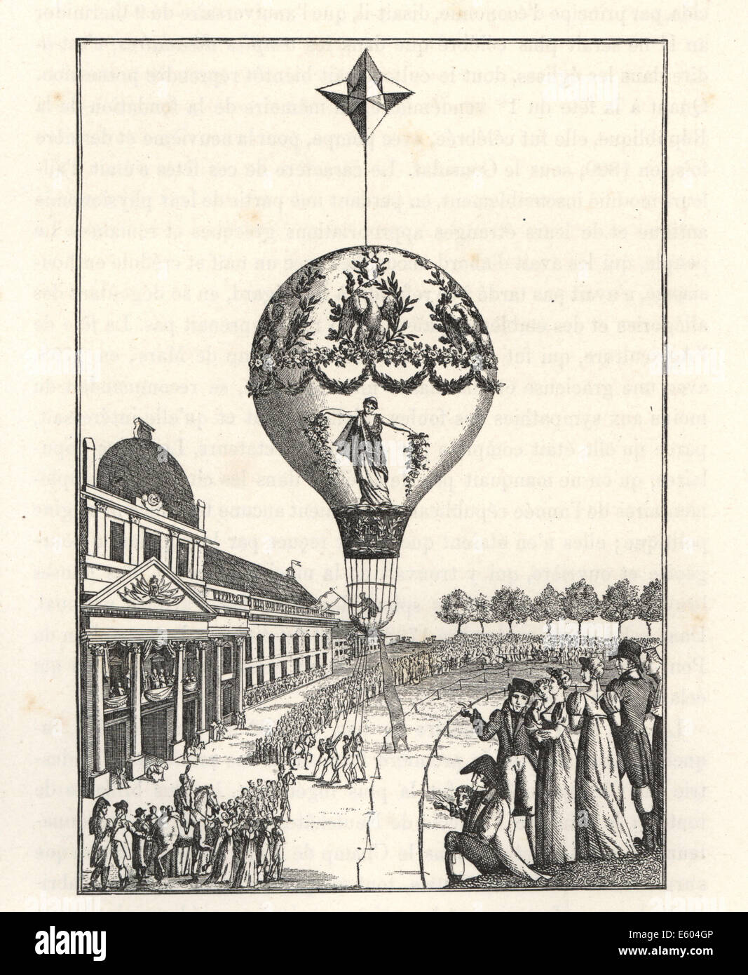 Ascension of a balloon by female balloonist Sophie Blanchard. Stock Photo