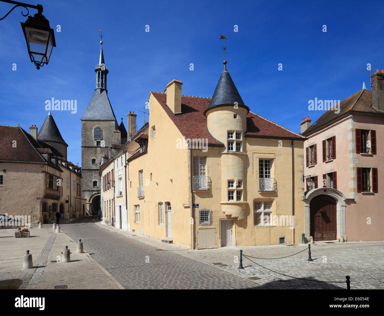 Maison Des Sires De Domecy and Clock Tower, Avallon, Bourgogne, France. - Stock Image
