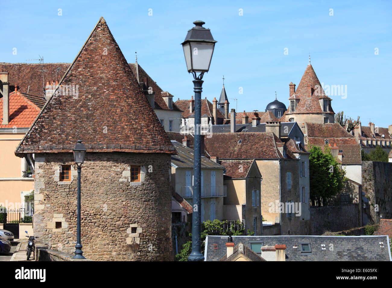 Rooftops in Avallon, Burgundy France - Stock Image