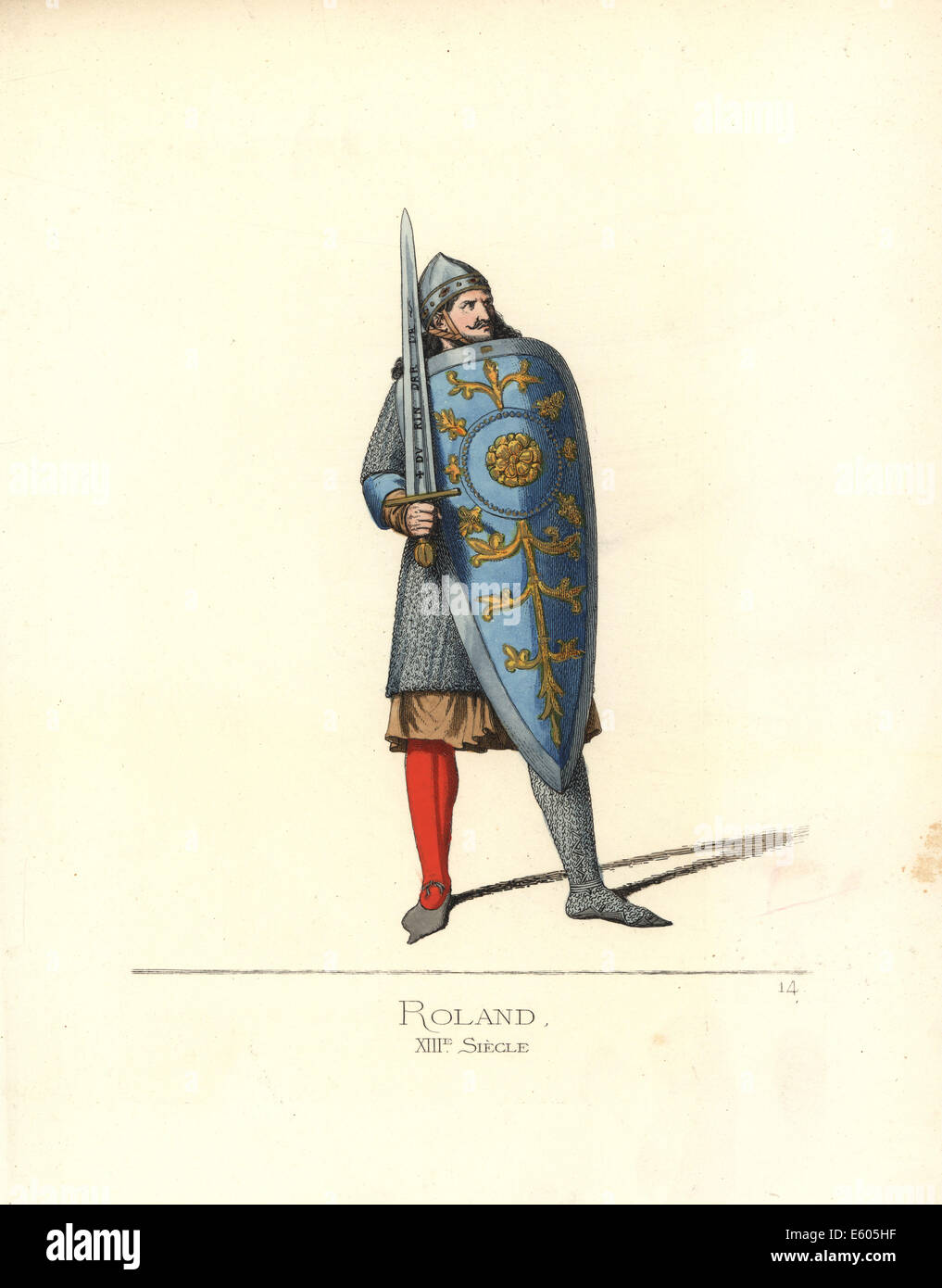 The paladin Roland, from the Song of Roland, 13th century. - Stock Image