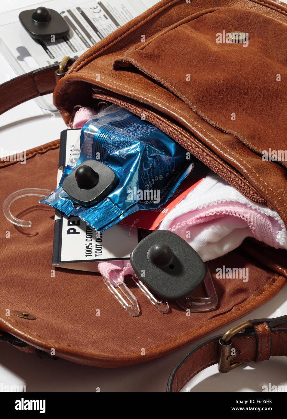 Shoplifting. Security tags attached to stolen items. - Stock Image