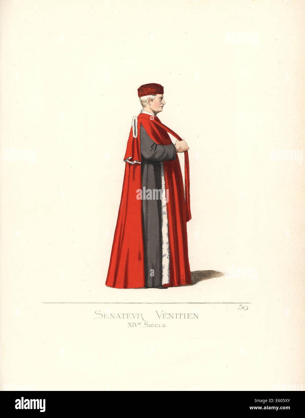 Venetian senator, 14th century. - Stock Image