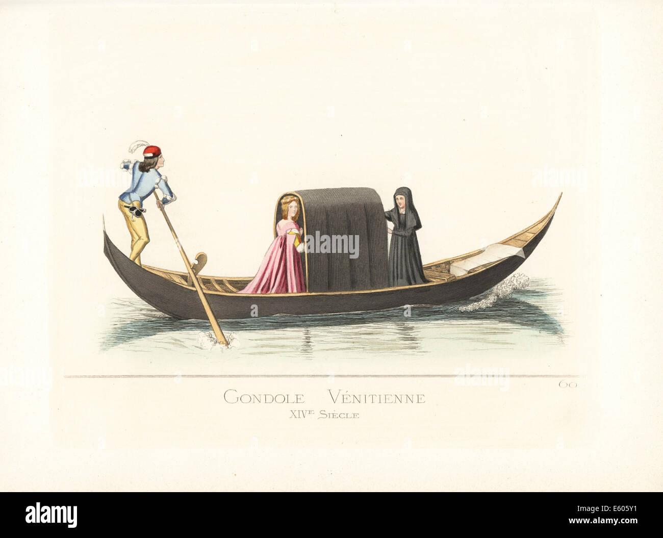 Venetian gondola, 14th century. Stock Photo