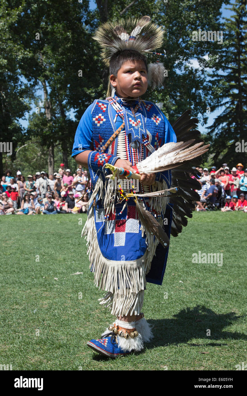 Young dancer at First Nations powwow on Canada Day - Stock Image
