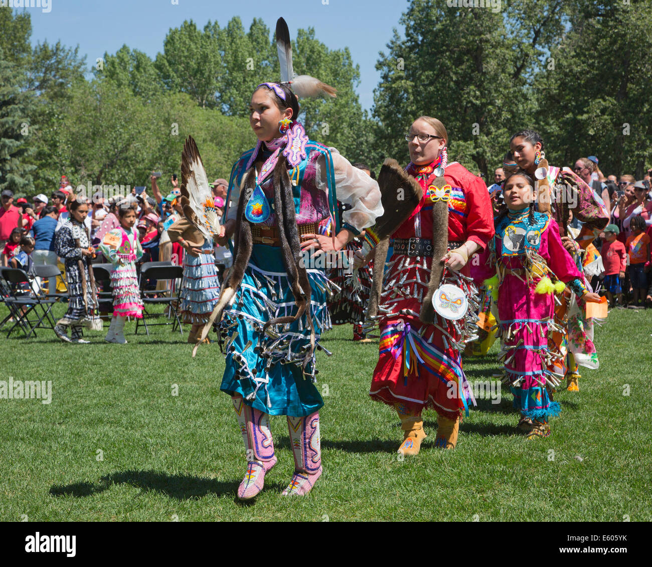 Dancers at First Nations powwow celebrating Canada Day - Stock Image