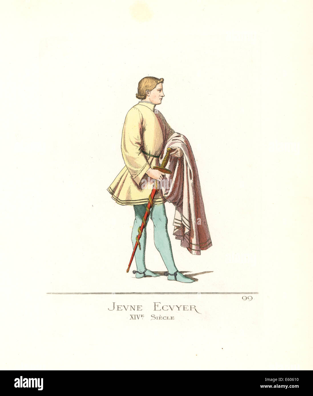 Costume of a young squire, 14th century. - Stock Image