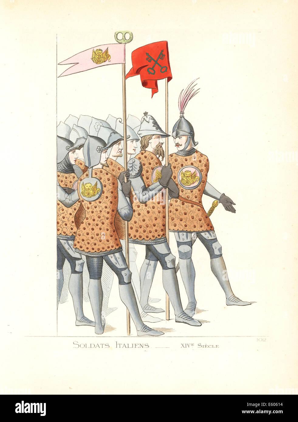 Uniforms of Italian soldiers, 14th century. - Stock Image