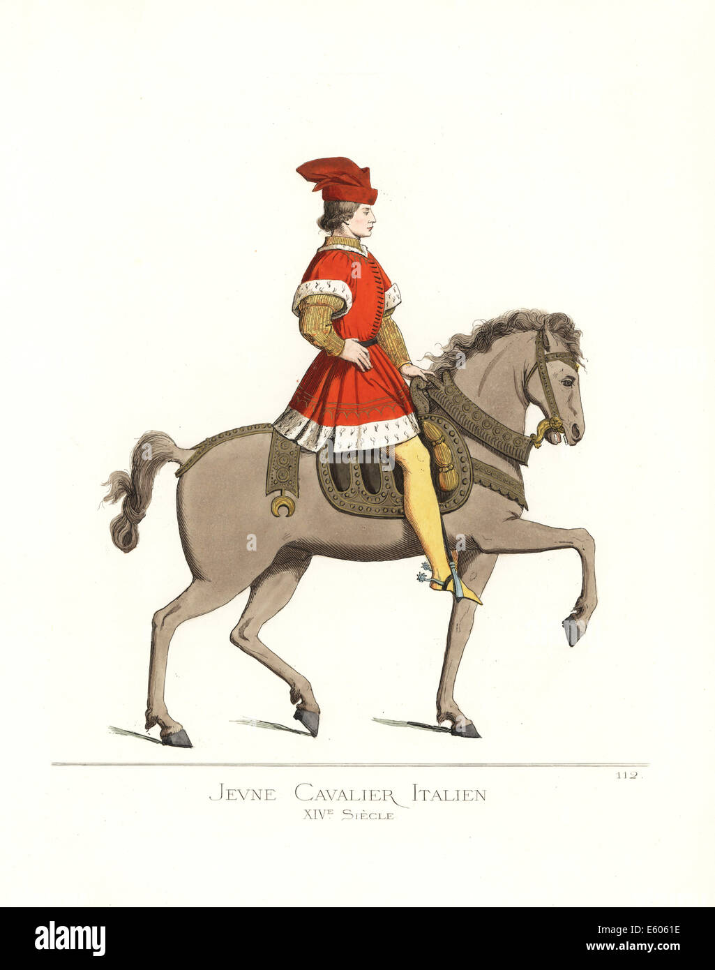 Costume of a young Italian cavalry man, 14th century. - Stock Image