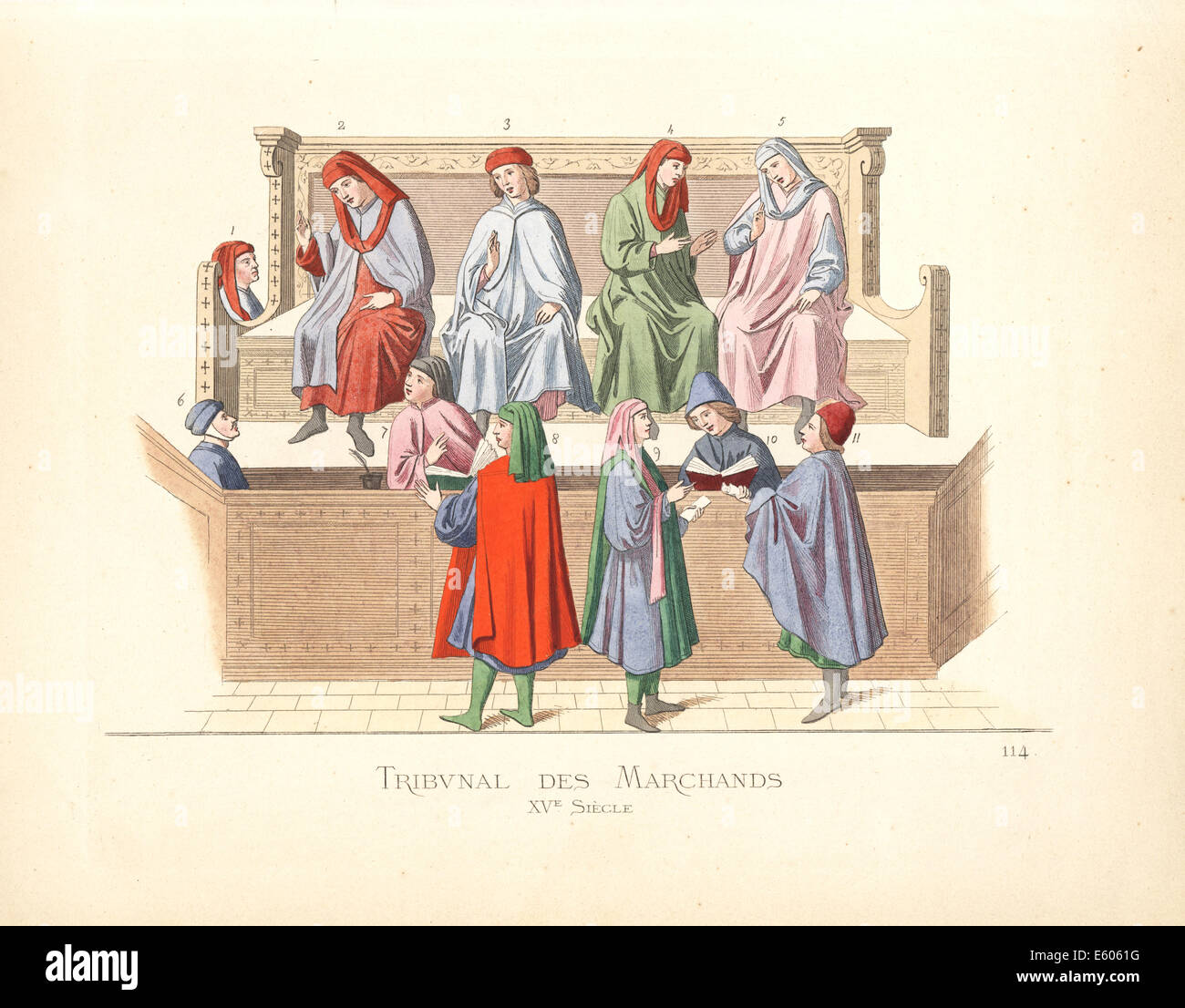Merchant tribunal, Italy, 15th century. - Stock Image