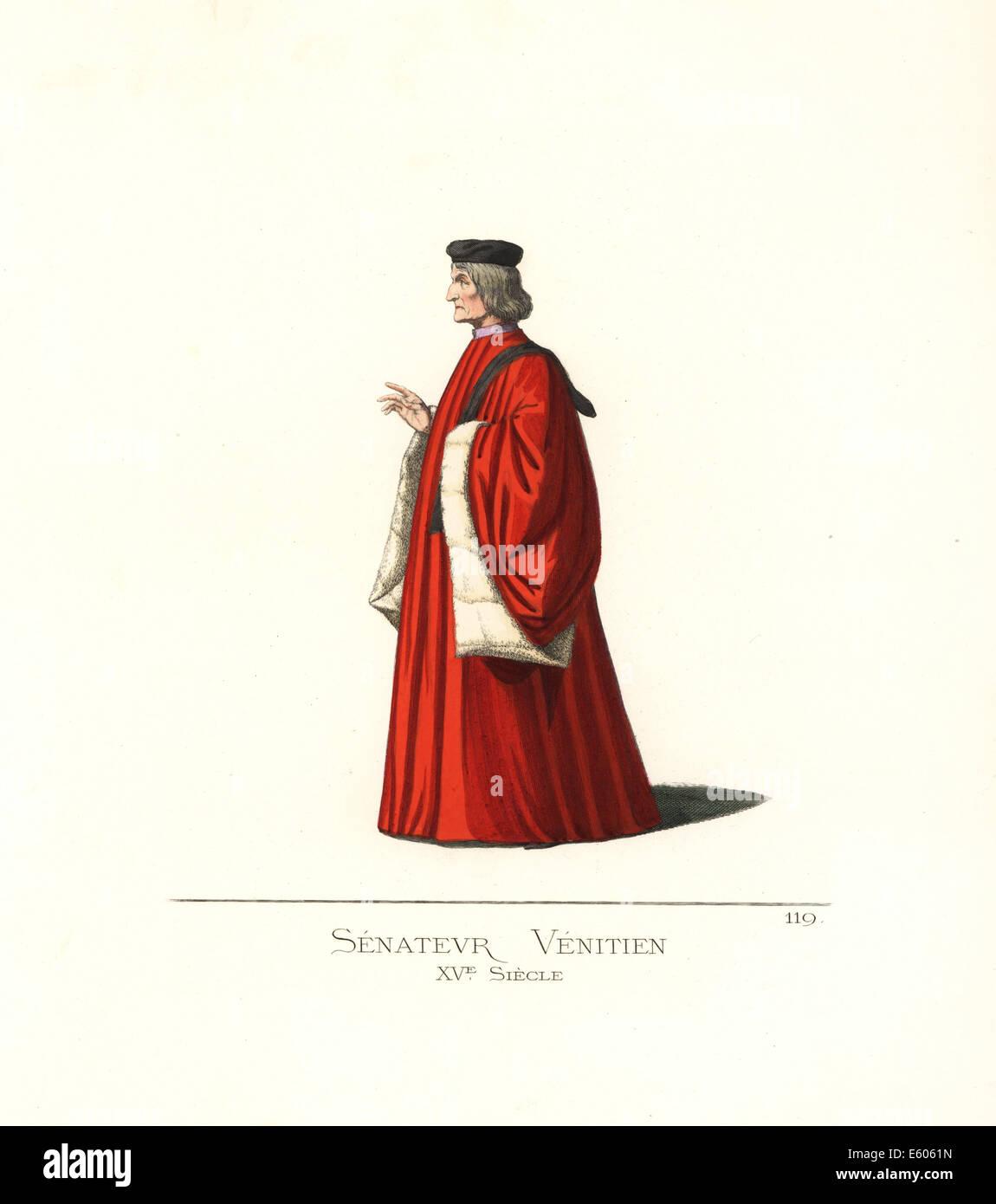 Venetian senator, 15th century. - Stock Image