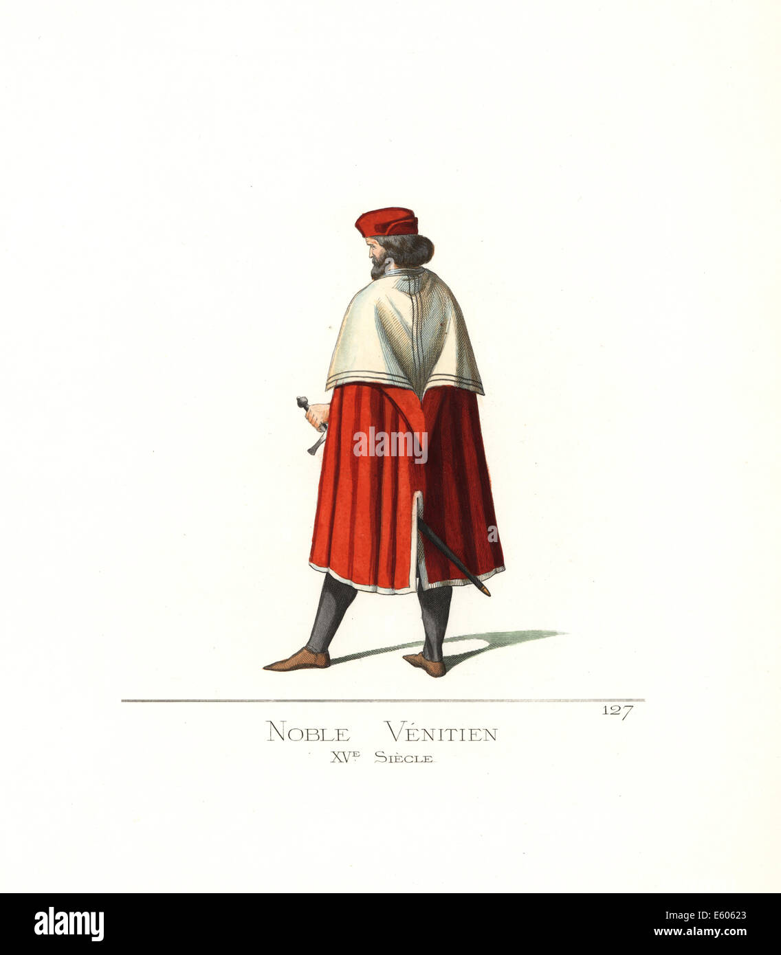 Costume of a Venetian noble man, 15th century. - Stock Image