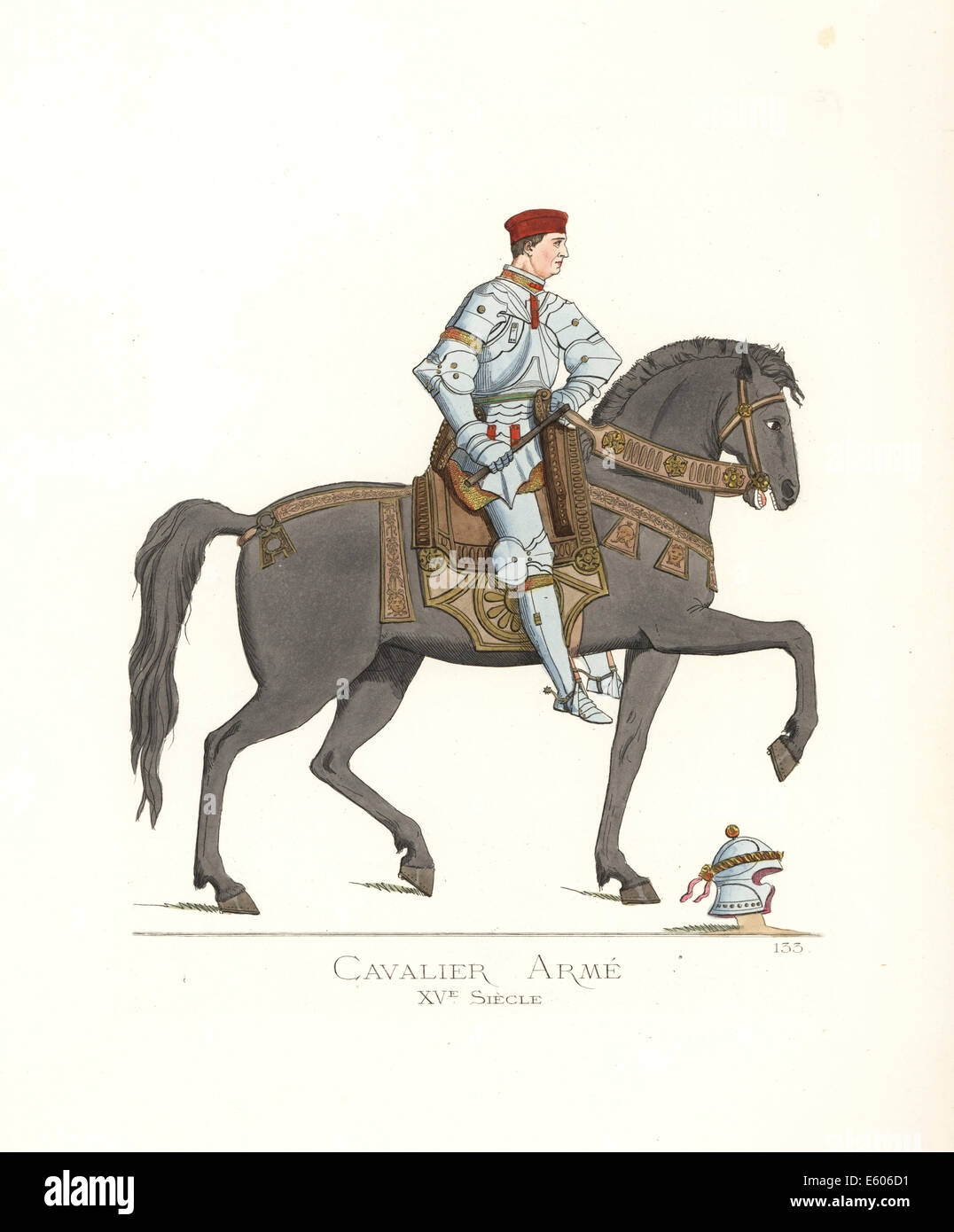 Mounted knight in suit of armour, 15th century. - Stock Image