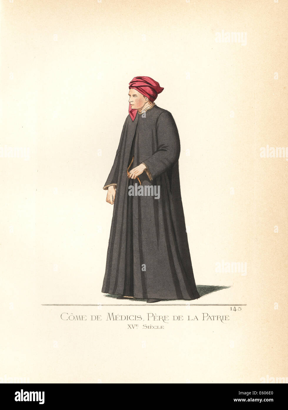 Costume of Cosimo de Medici (1389–1464), father of the nation. - Stock Image
