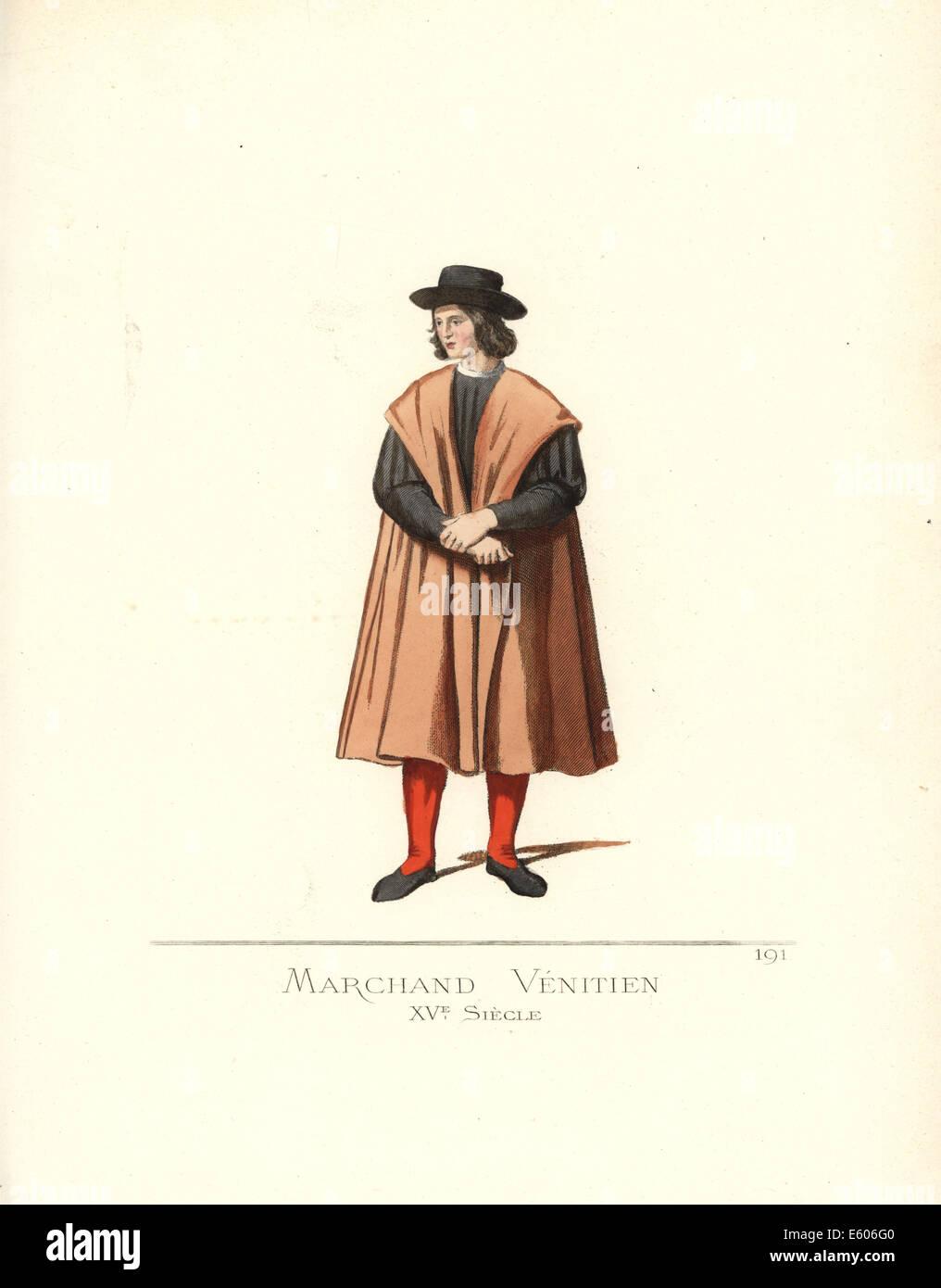 Venetian merchant, 15th century. - Stock Image