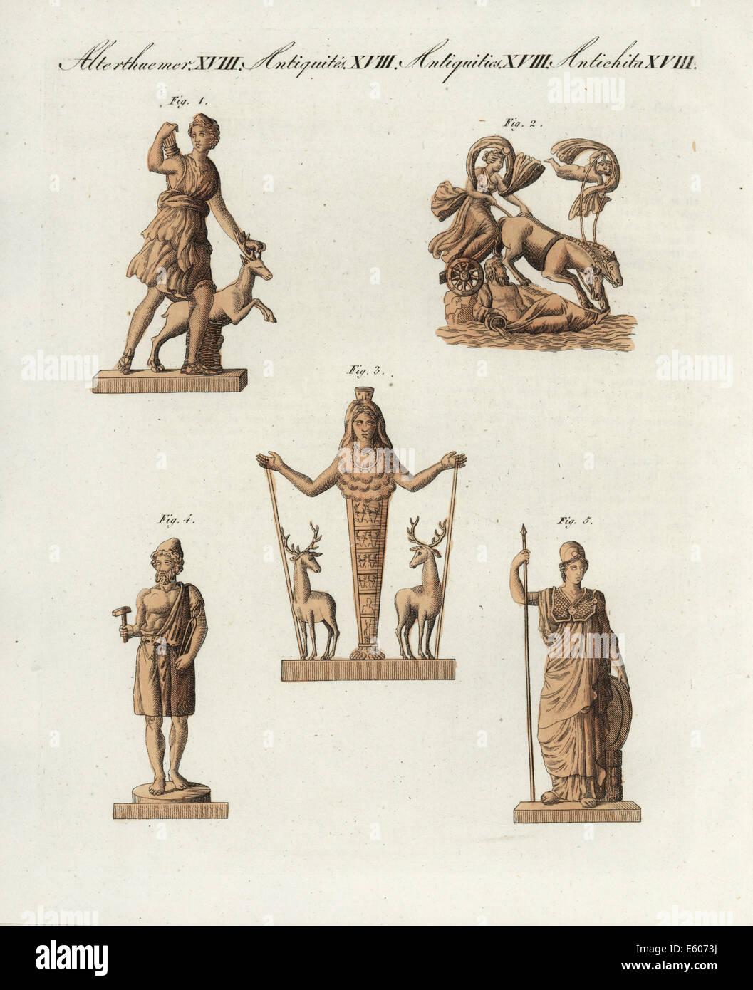 Greek and Roman gods: Diane, Vulcan and Minerva. - Stock Image