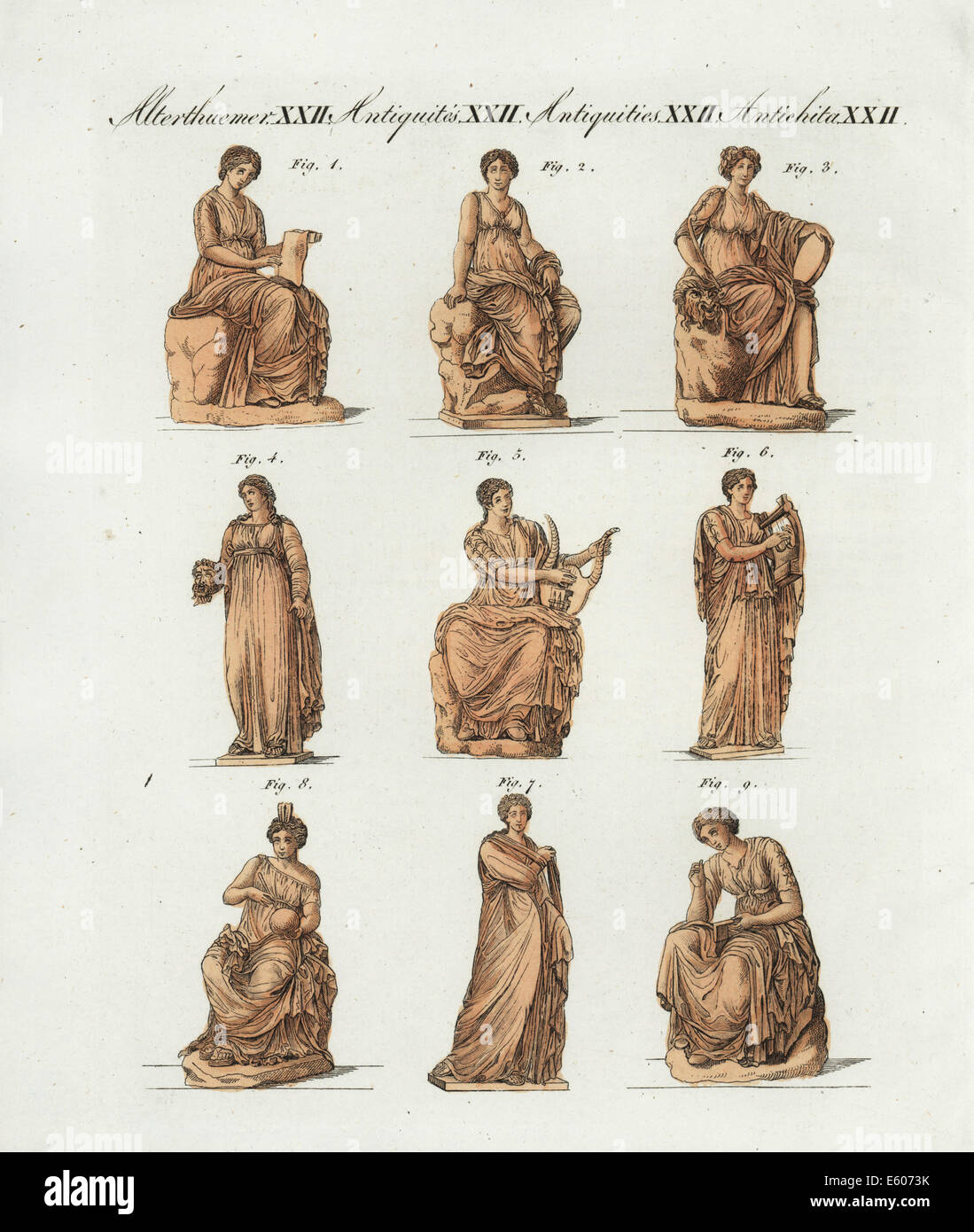 Greek and Roman gods, the Muses. - Stock Image
