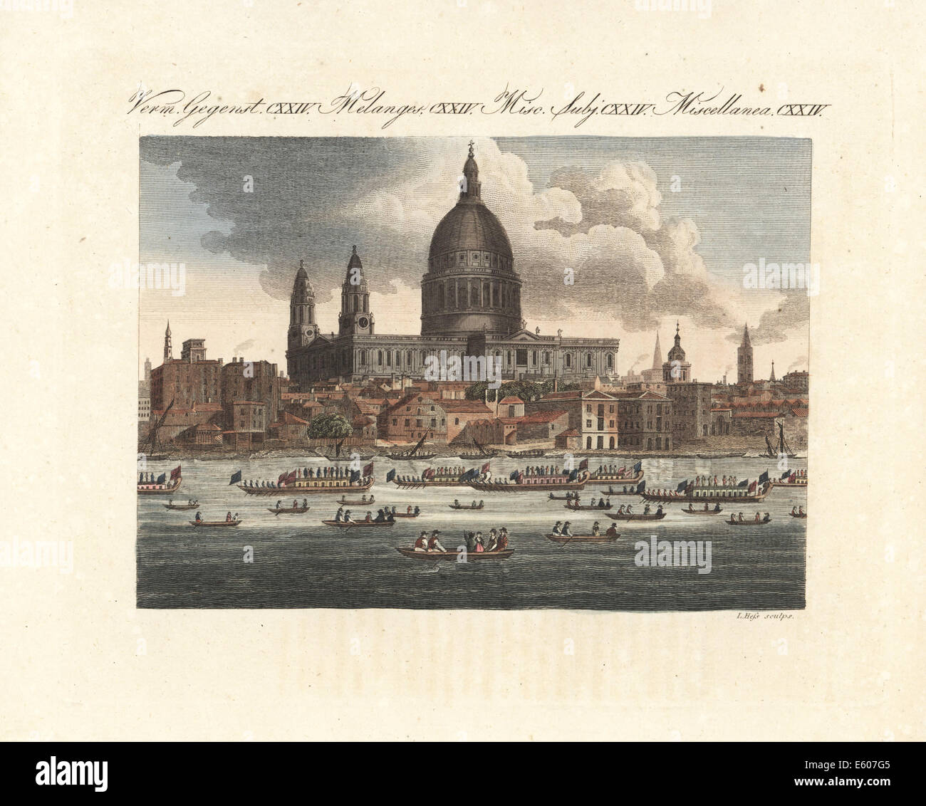 The Lord Mayor of London's parade float on the Thames, 18th century. - Stock Image