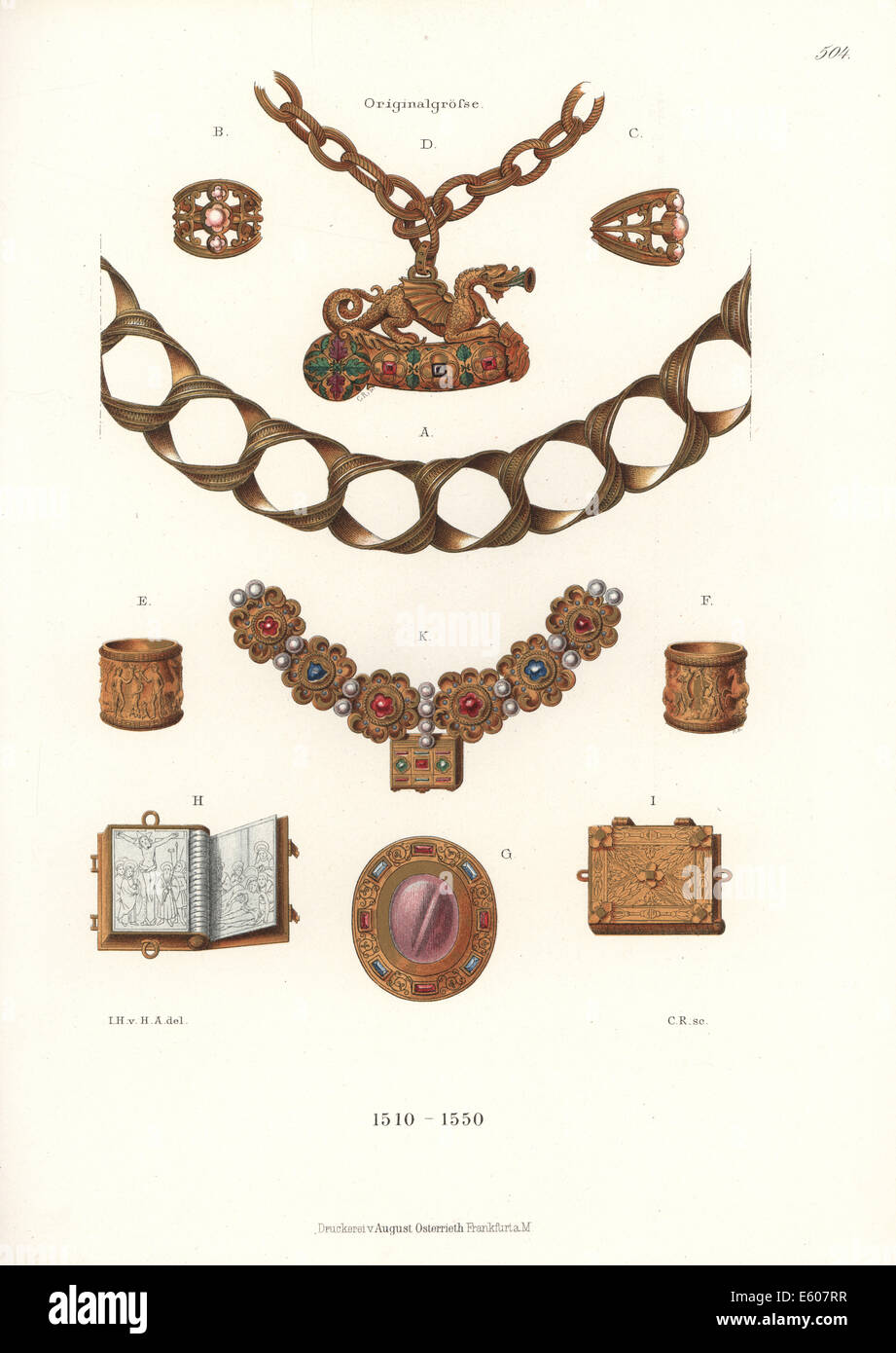 German jewelry, early 16th century. - Stock Image