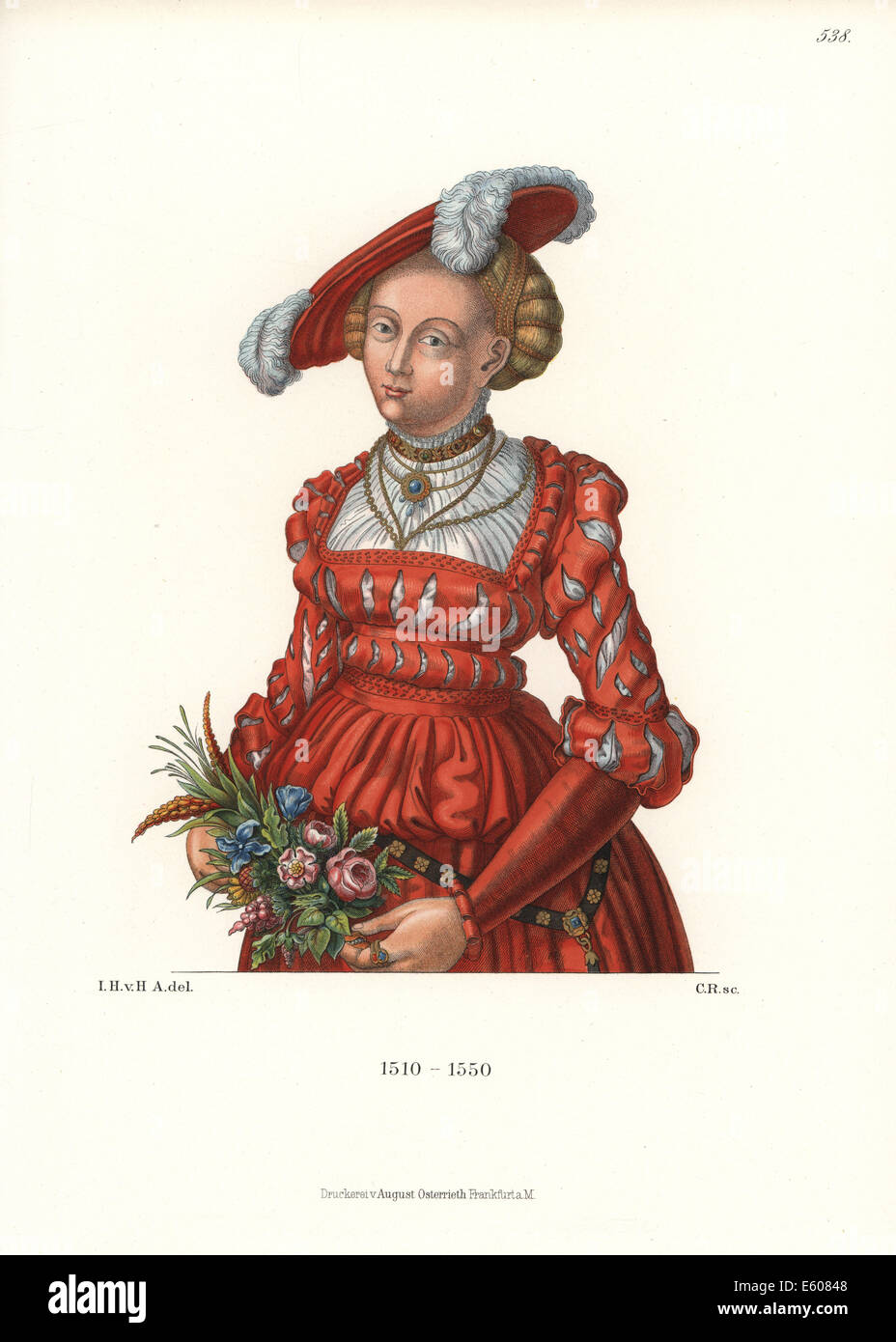 German woman's costume of the first half of the 16th century. - Stock Image