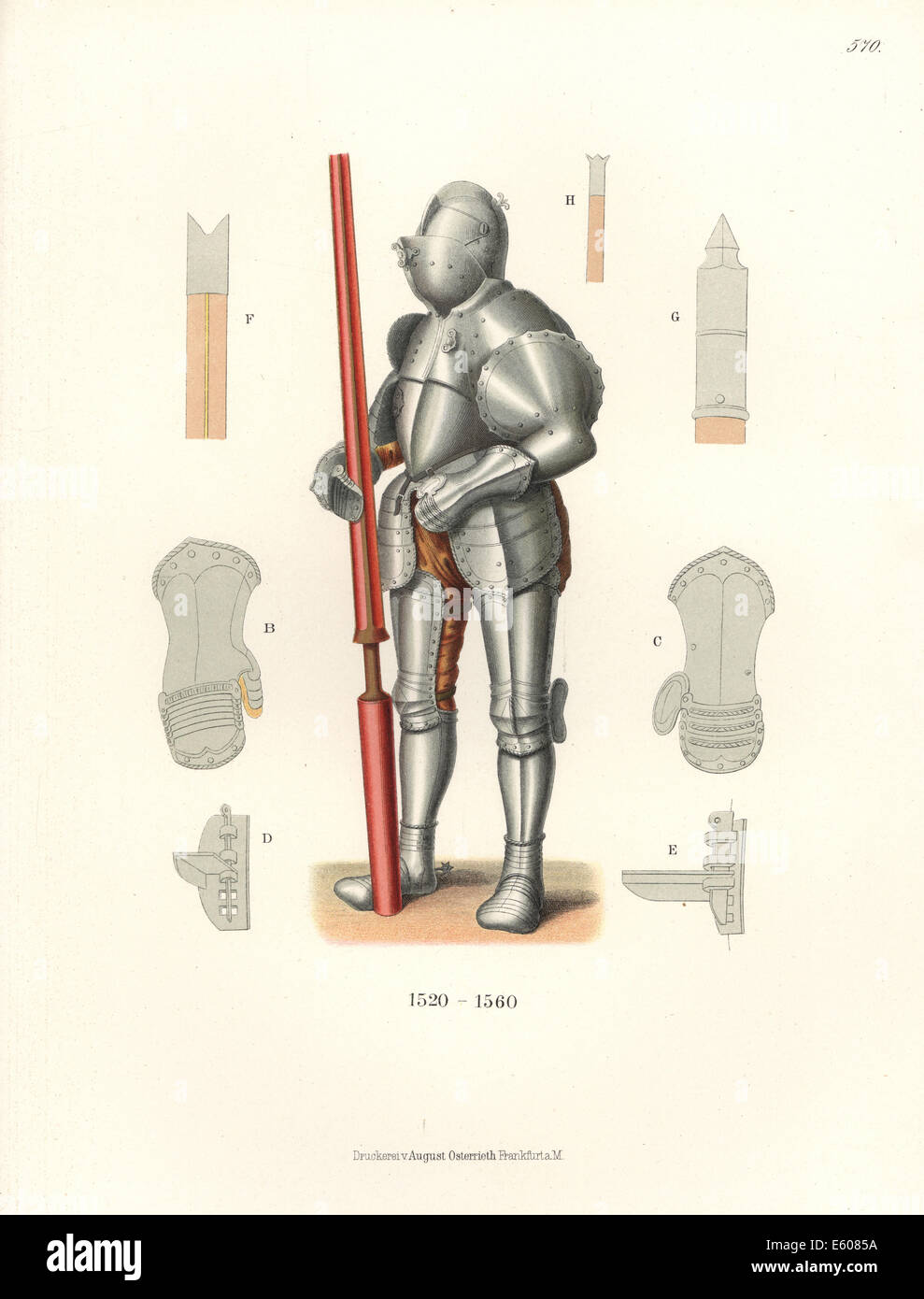 German knight in jousting armour, mid 16th century. - Stock Image