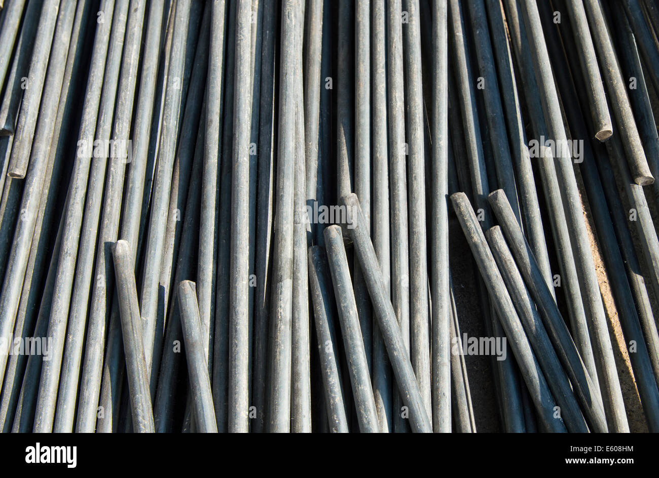 Rods Stack Construction Site Backgrounds Stock Photos