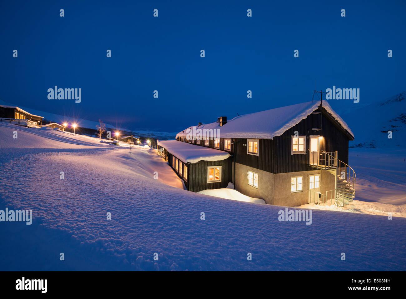 Winter night at Kebnekaise Fjällstation, Lapland, Sweden - Stock Image