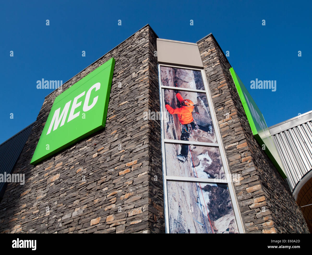 The outside exterior of a Mountain Equipment Co-op (MEC) store in Edmonton, Alberta, Canada. - Stock Image