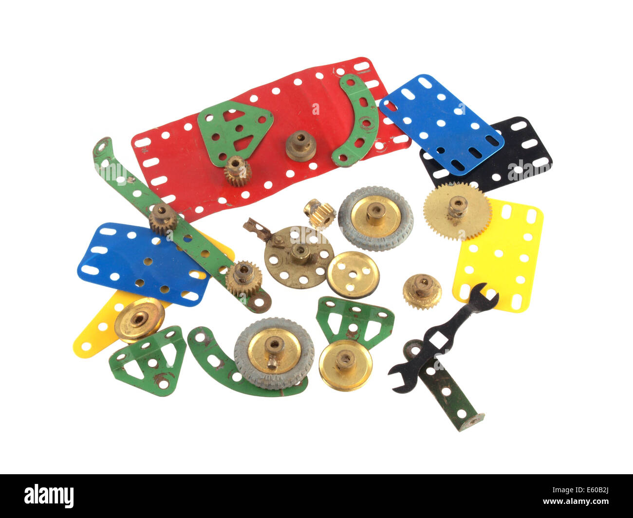 Close up photo of components used to construct model toys. - Stock Image