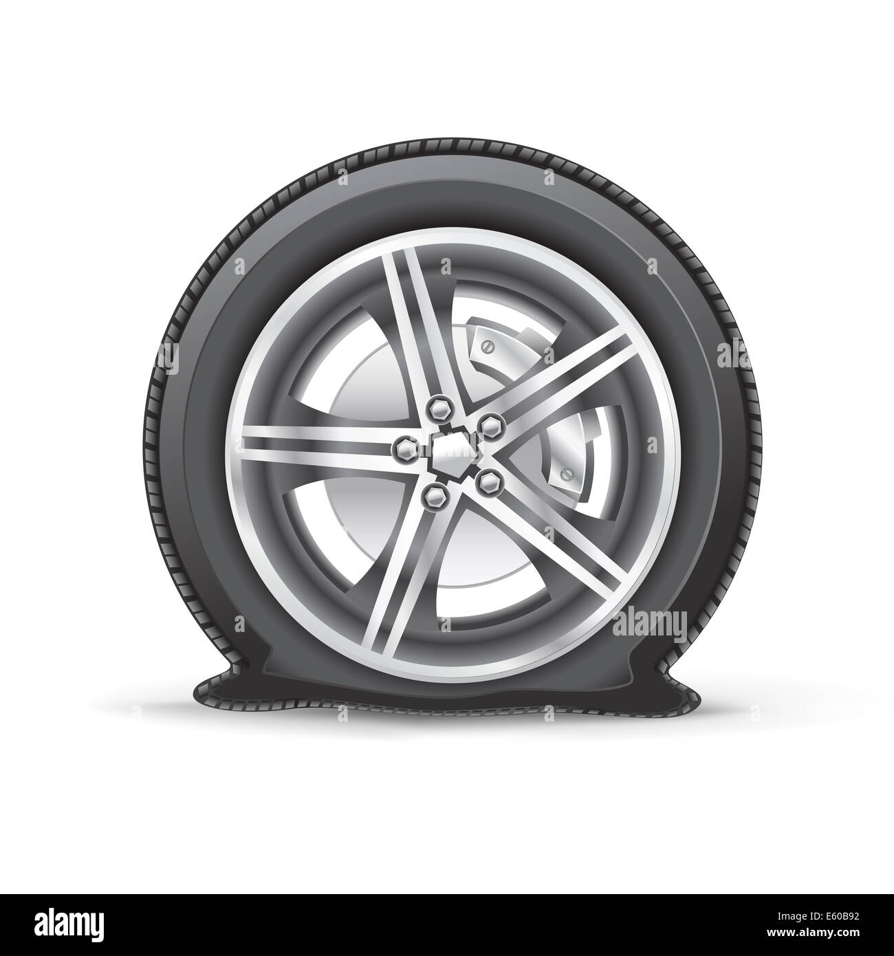 flat tire - Stock Image