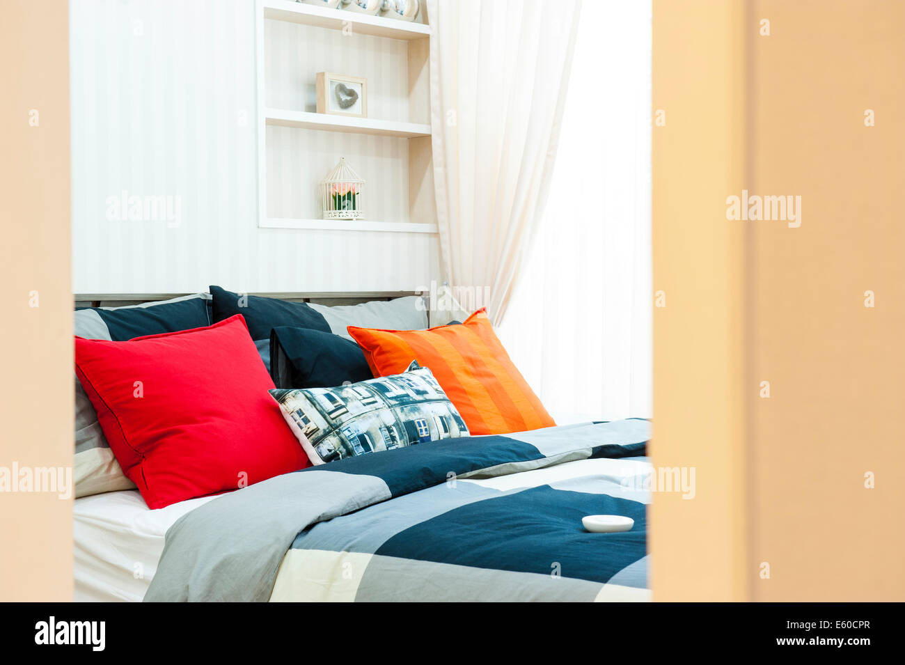 Open the bedroom with pillows - Stock Image